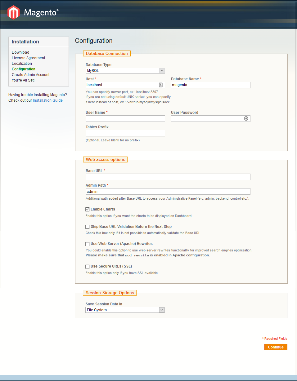 How to install Magento - step 3