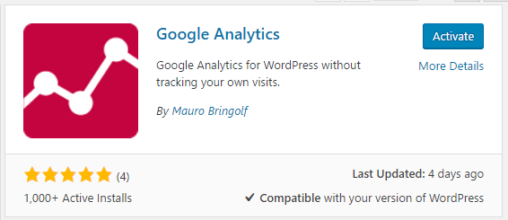wordpress_google_analytics_plugin_activate