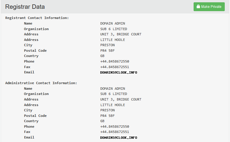 Domain Privacy Whois Lookup