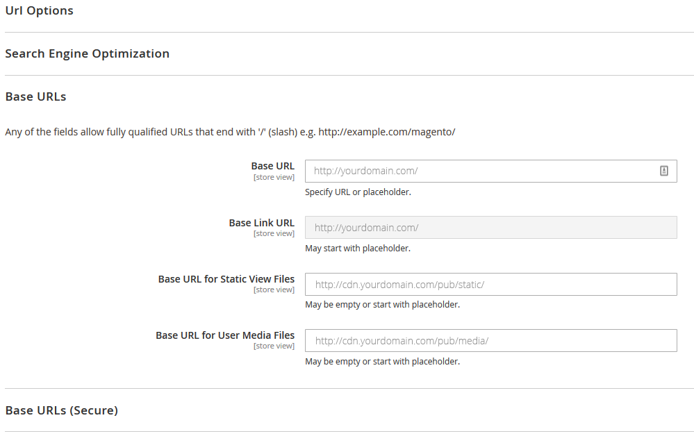 Magento 2 CDN settings