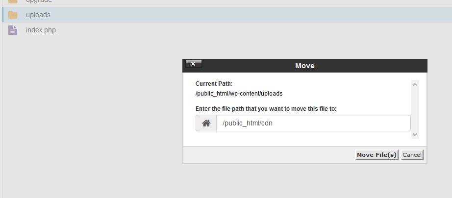 cpanel move wp-uploads cdn