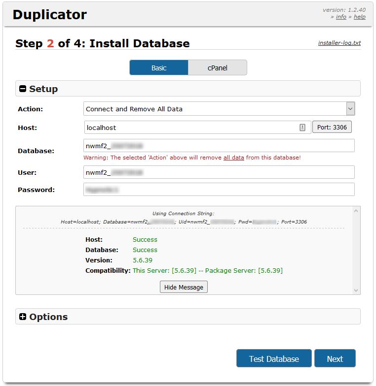 Duplicator Credentials