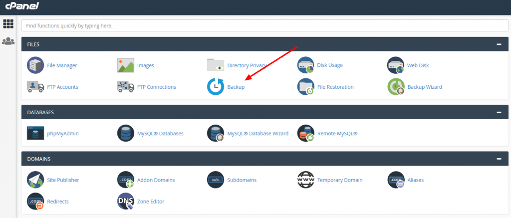 backing up cPanel