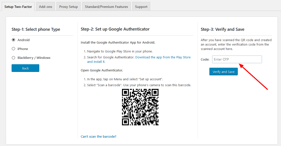Enabling 2 Factor Authentication