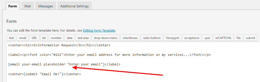 Contact Form 7 Placeholder Text