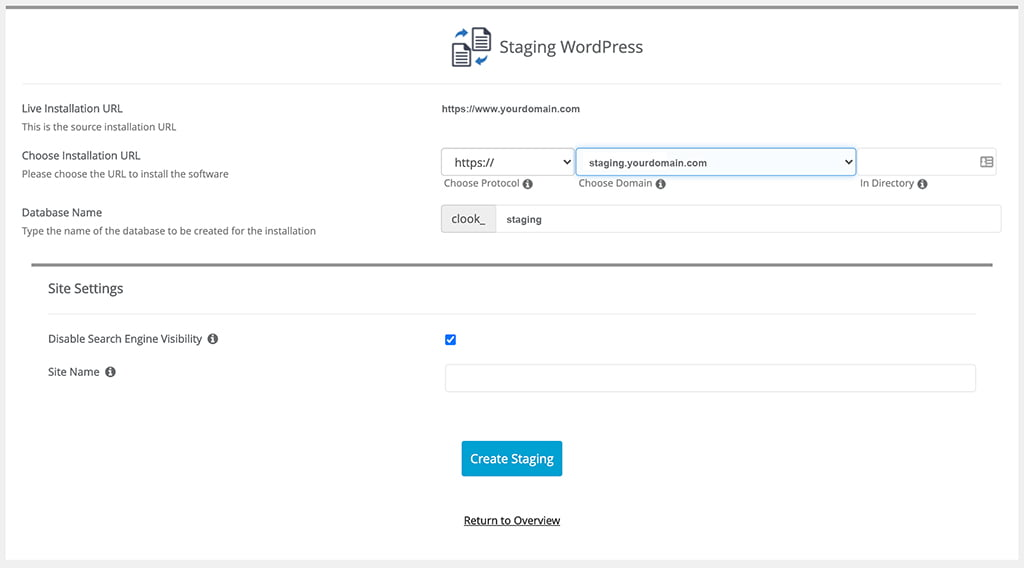 WordPress Softaculous - Staging Settings Screen