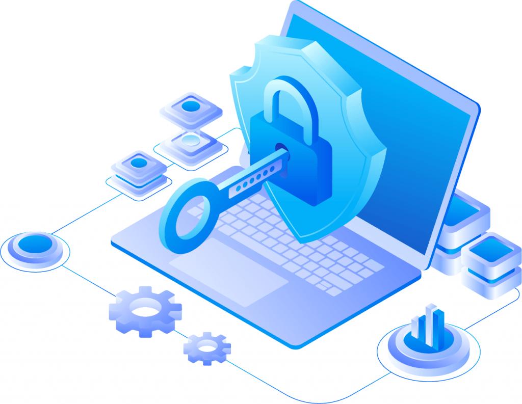 Secure Cloud Server Hosting Illustration